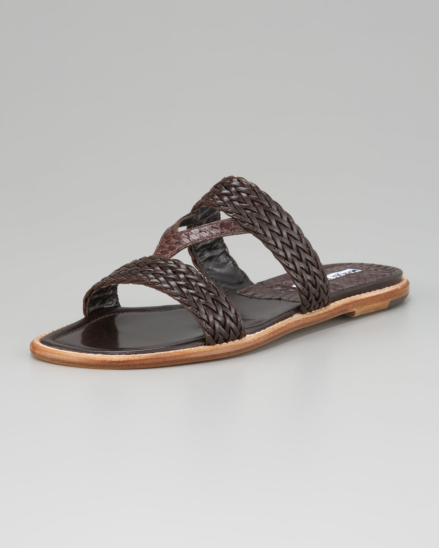 Manolo Blahnik V-Strap Braided Flat Sandal In Black  Lyst-2772