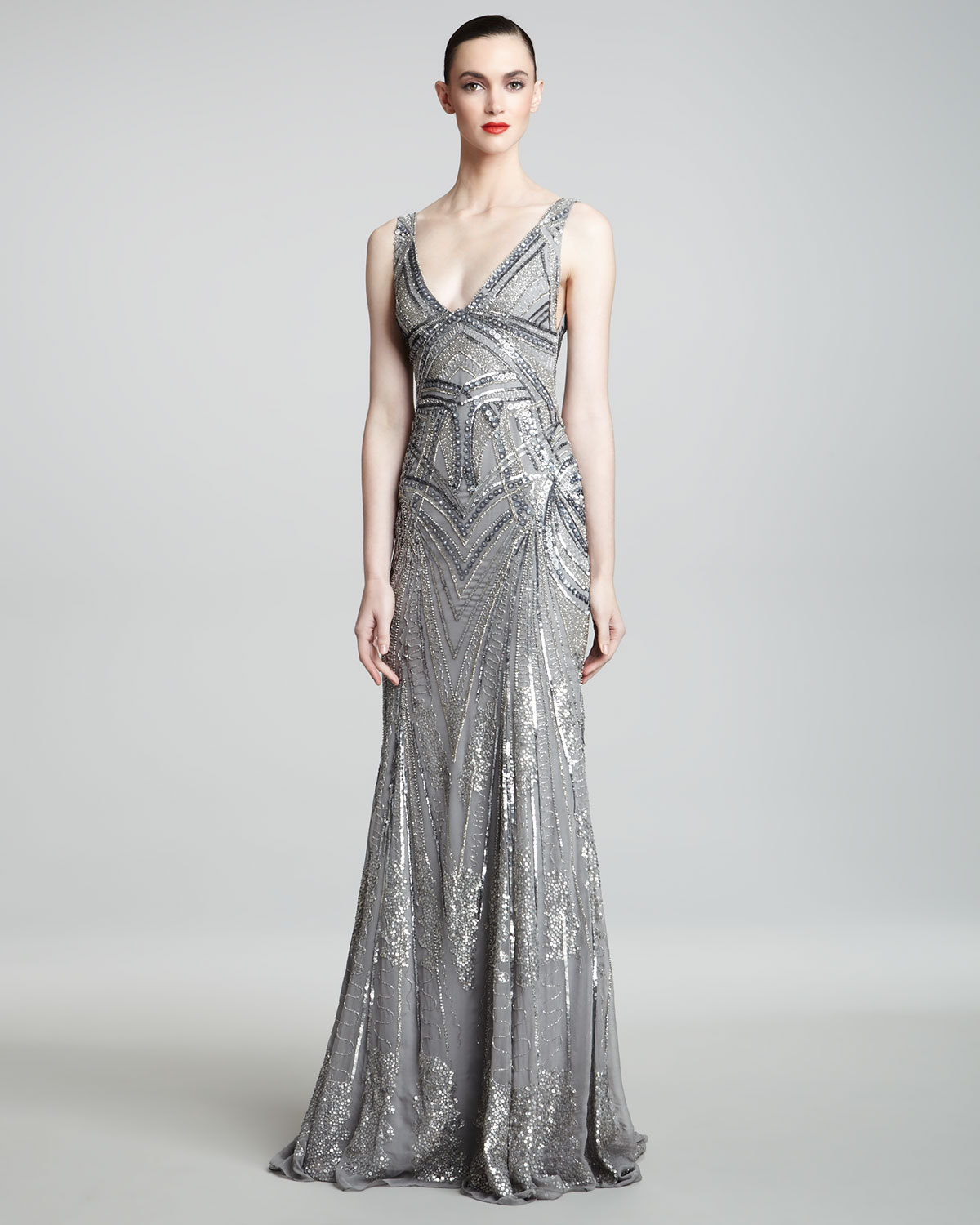 Monique Lhuillier Art Deco Embroidered Gown In Metallic Lyst