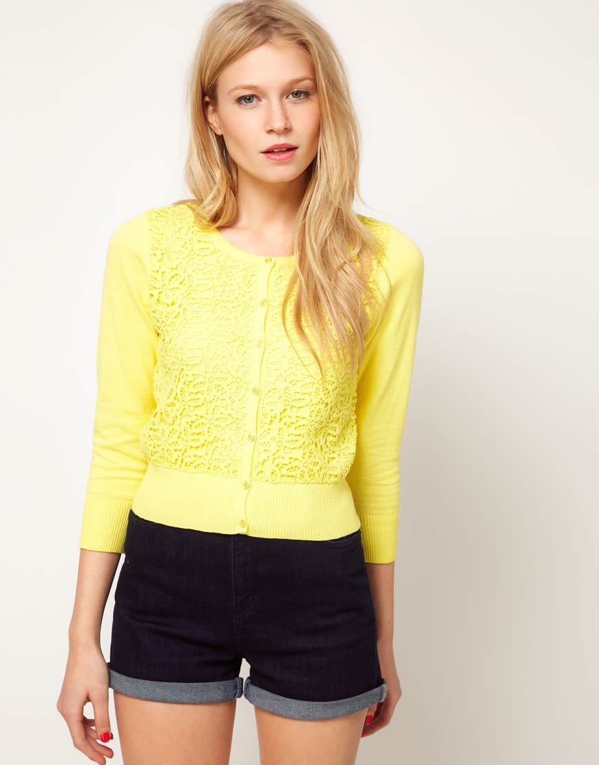 Oasis Oasis Lemon Cardigan with Lace Overlay in Yellow | Lyst