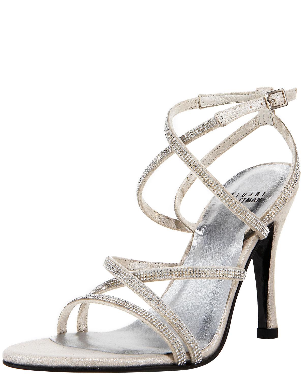 Stuart Weitzman Strappy Crystal Sandal In Silver Lyst