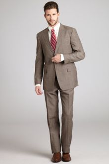 Tommy Hilfiger Rum Brown Glen Plaid Woollinen Blend Two Button Suit with Flat Front Pants - Lyst