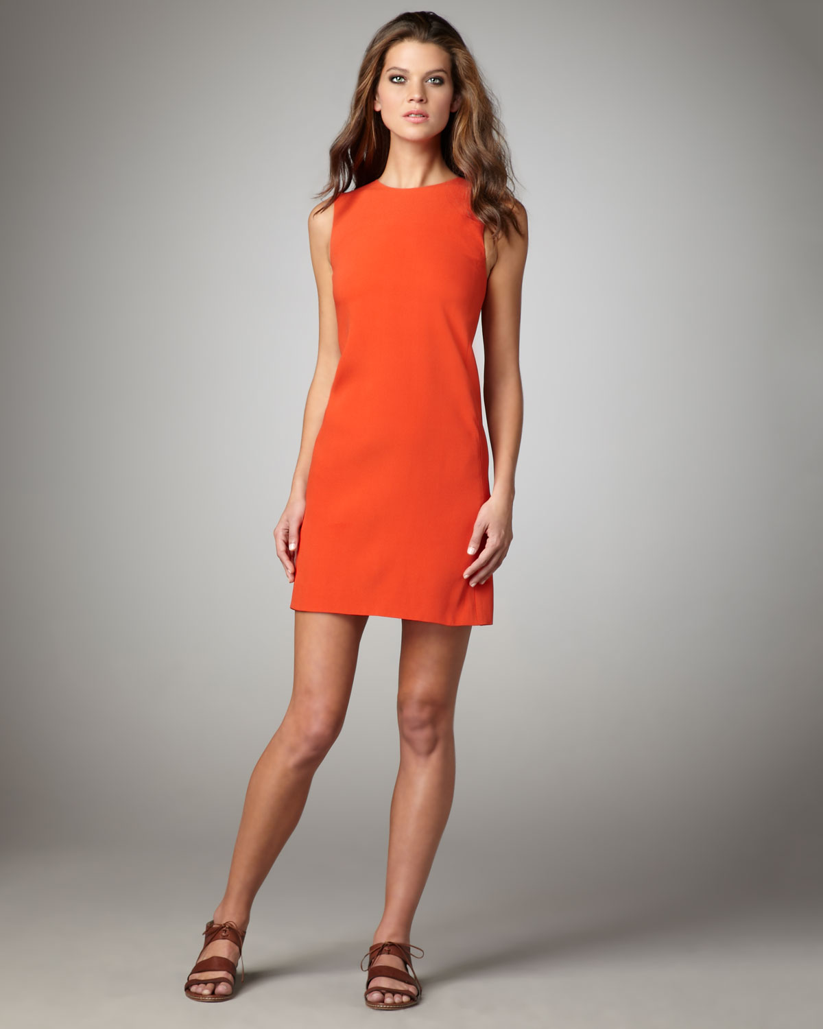 Lyst Vince Silk Shift Dress Geranium In Orange