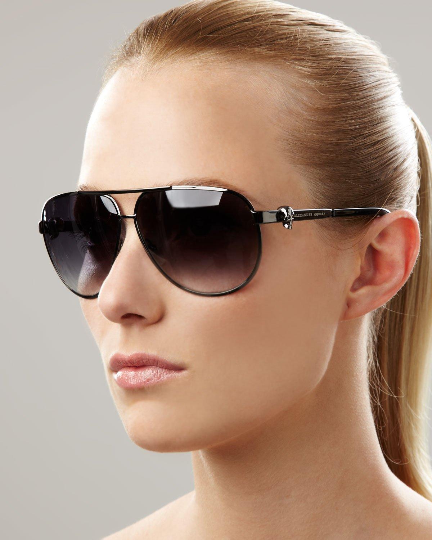 Alexander Mcqueen Classic Aviator Sunglasses In Black Lyst