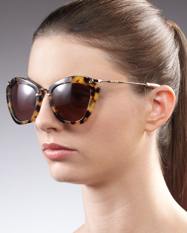 df83bf8796 Lyst - Miu Miu Catwalk Havana Sunglasses in Brown