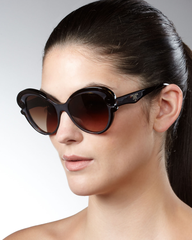 6b240d142fb72 ... new arrivals lyst prada cat eye sunglasses brown in brown 826c5 e61a1