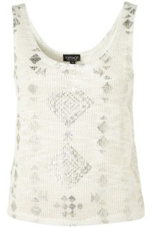 Topshop Foil Tribal Textured Crop Vest - Lyst