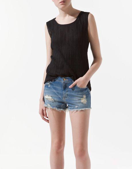 Zara Pleated Fabric Tshirt in Black - Lyst