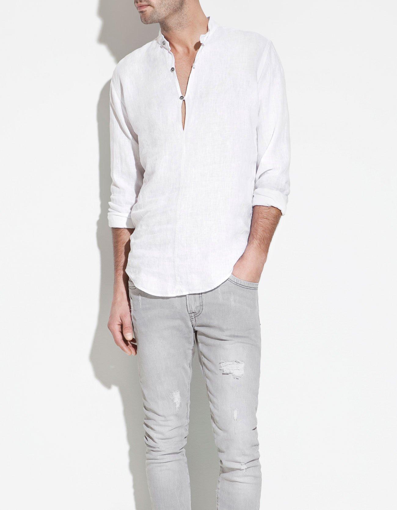 Zara linen shirt with mao collar in white for men lyst for Zara mens shirts sale