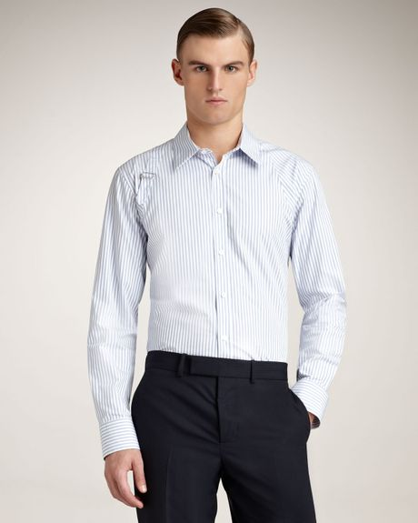 Alexander Mcqueen Striped Harness Shirt in Blue for Men (light blue) - Lyst