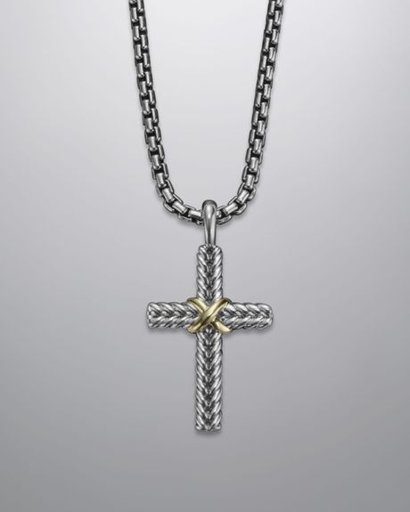 David Yurman Chevron Cross Necklace In Silver For Men Lyst
