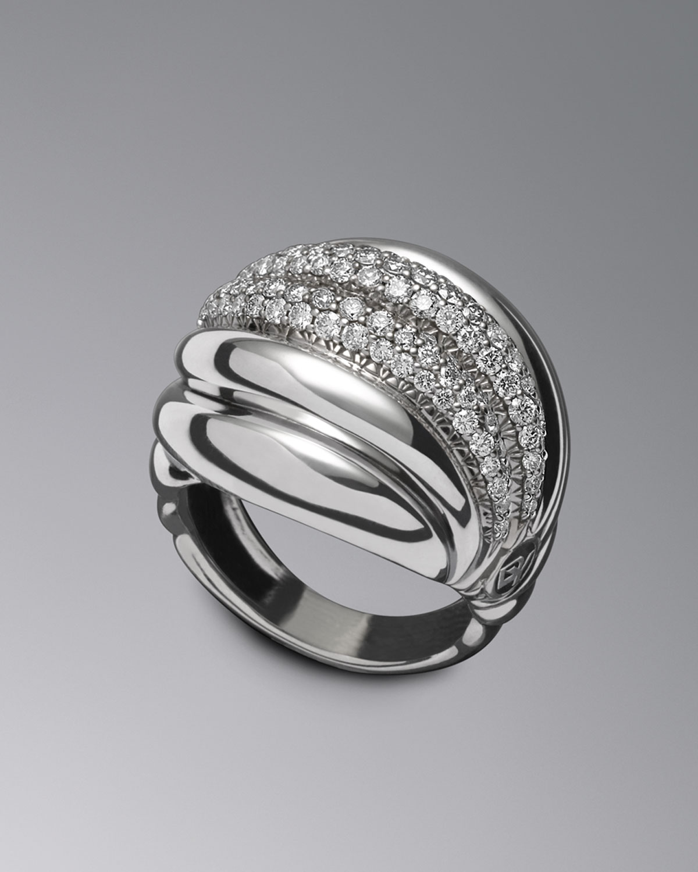 David Yurman Pave Diamond Sculpted Cable Ring In Metallic