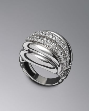 David Yurman Pave Diamond Sculpted Cable Ring - Lyst