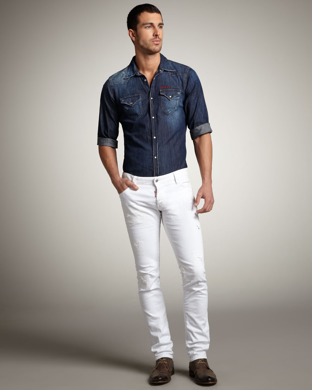 99fd366e DSquared² Slim Distressed White Jeans in White for Men - Lyst