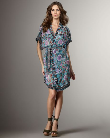 Jean Paul Gaultier Printed Silk Coverup in Blue (aztec sardegna)