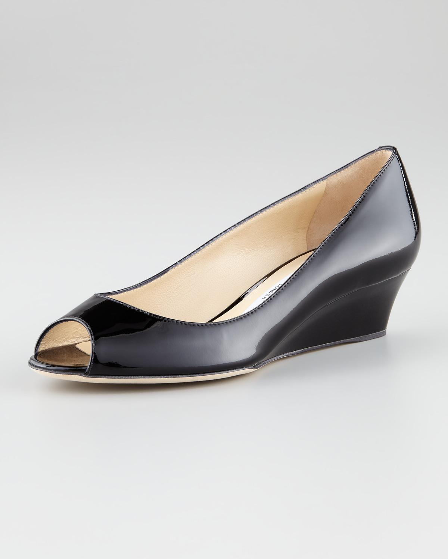 jimmy choo bergen peep toe wedge black in black lyst