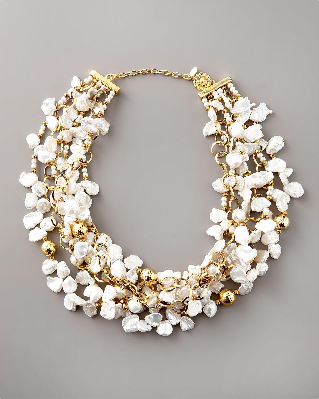 Keshi Pearl Necklace: Jose & Maria Barrera Keshi Pearl Necklace In Metallic