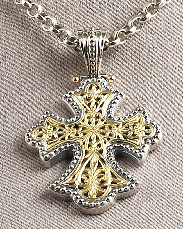 Lyst konstantino flared cross pendant in metallic gallery aloadofball Choice Image