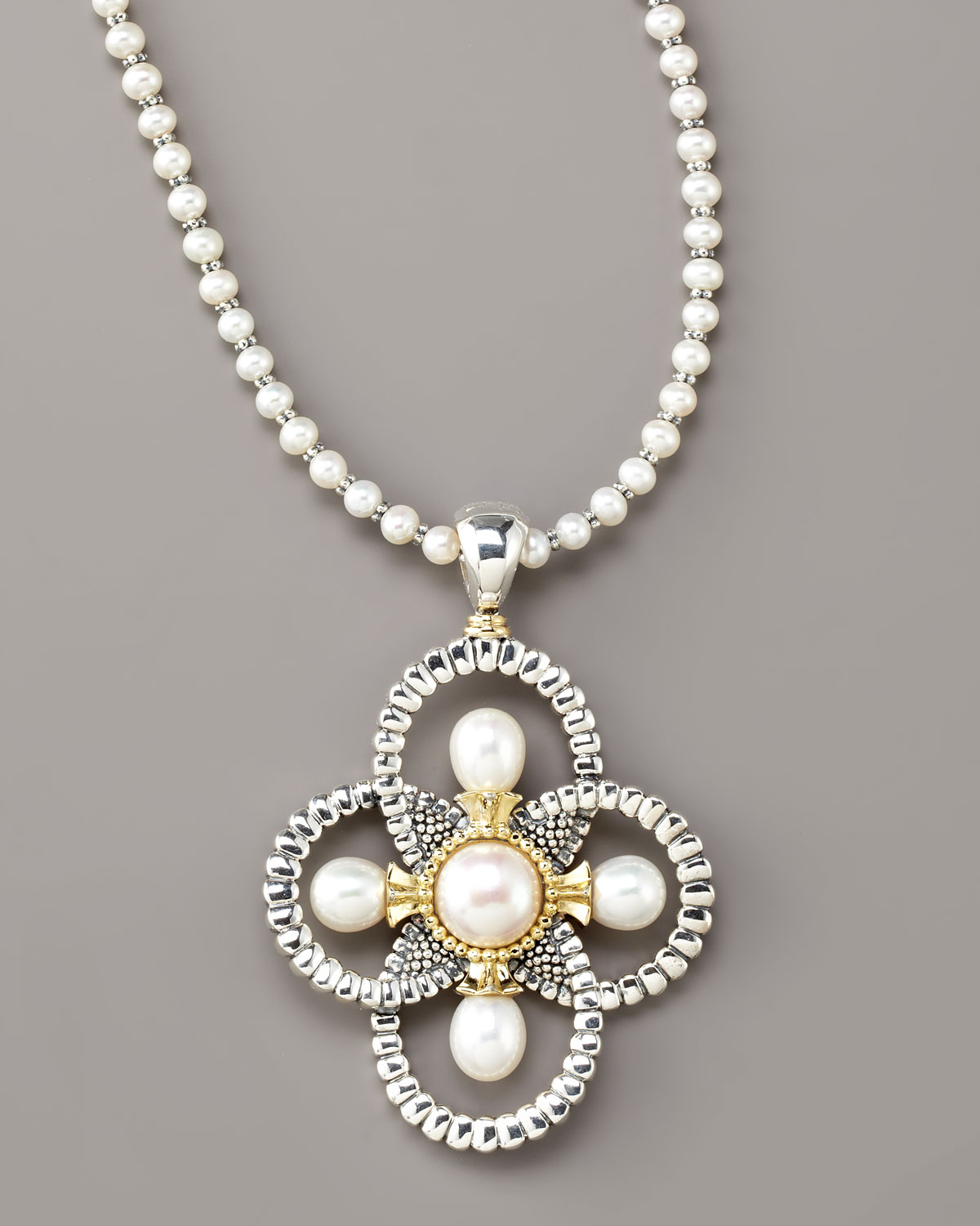 Lyst lagos luna pearl quatrefoil pendant necklace in white gallery mozeypictures Images