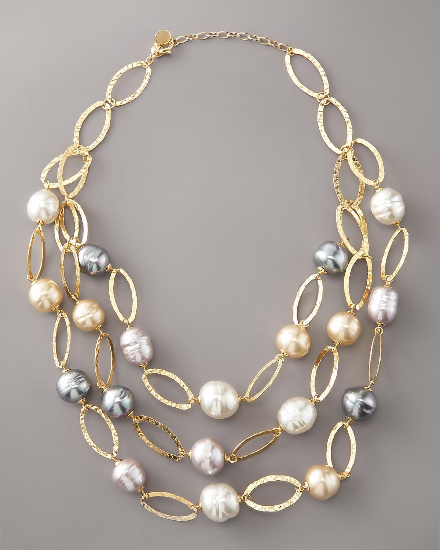 Majorica Multi-strand Baroque Pearl Necklace in White - Lyst