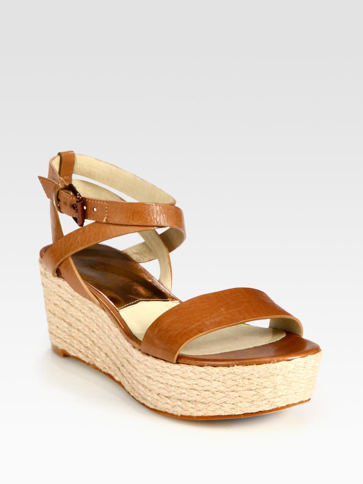 michael michael kors jalita leather espadrille wedge sandals in beige tan lyst. Black Bedroom Furniture Sets. Home Design Ideas