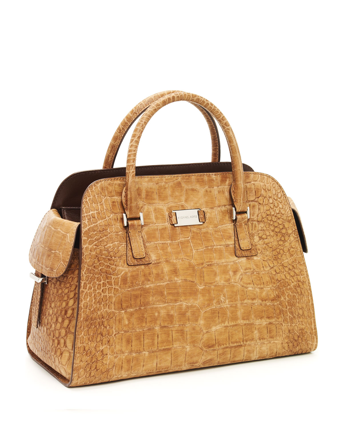 5a9fdf545d8 Lyst - Michael Kors Gia Satchel in Natural