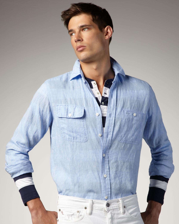 Linen Lauren Blue For Two Men Ralph Polo Pocket Shirt yNn80wmvO