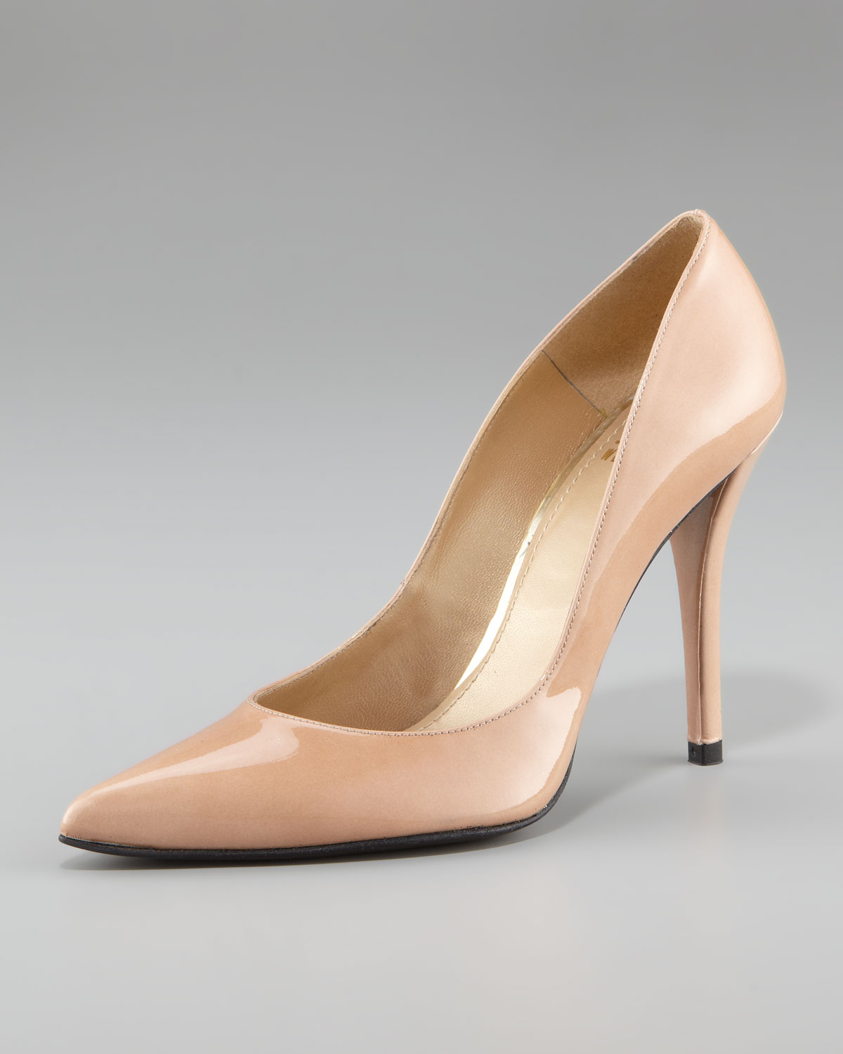 Nude leather pumps #8