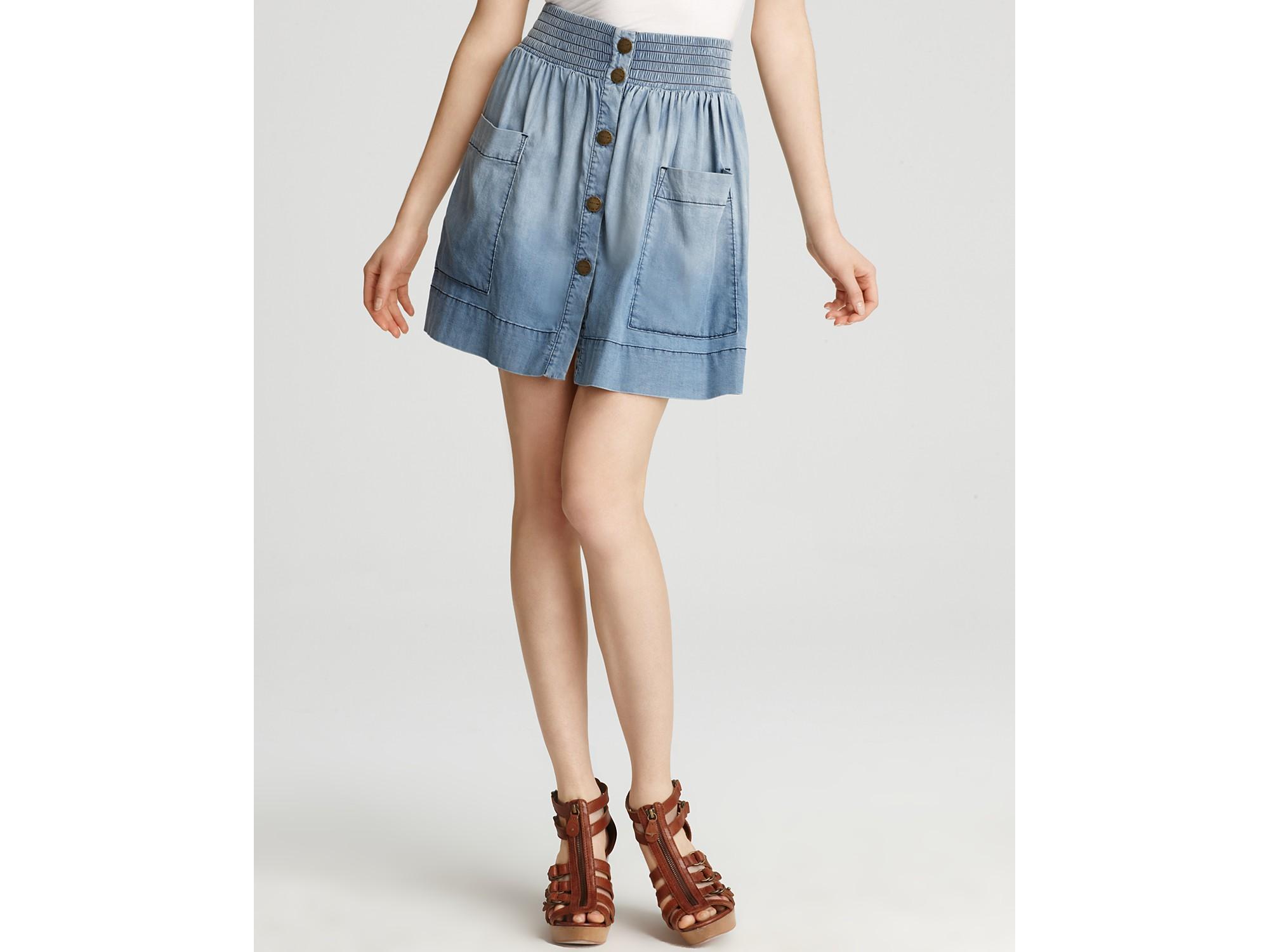 Ash Currentelliott Skirt The Ice Cream Denim Skirt in Tidepool ...
