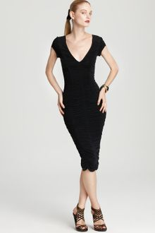 Donna Karan New York Dress Cap Sleeve Ruched - Lyst