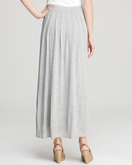eileen fisher pleated maxi skirt in gray pearl lyst