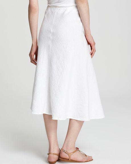 eileen fisher bias linen maxi skirt in white lyst
