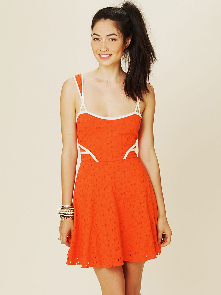 Lyst Free People Sunny Side Eyelet Fit And Flare Dress