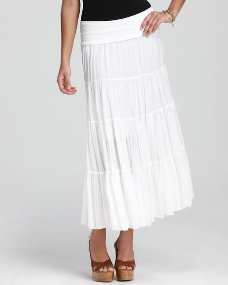 skirt tiered maxi in white lyst