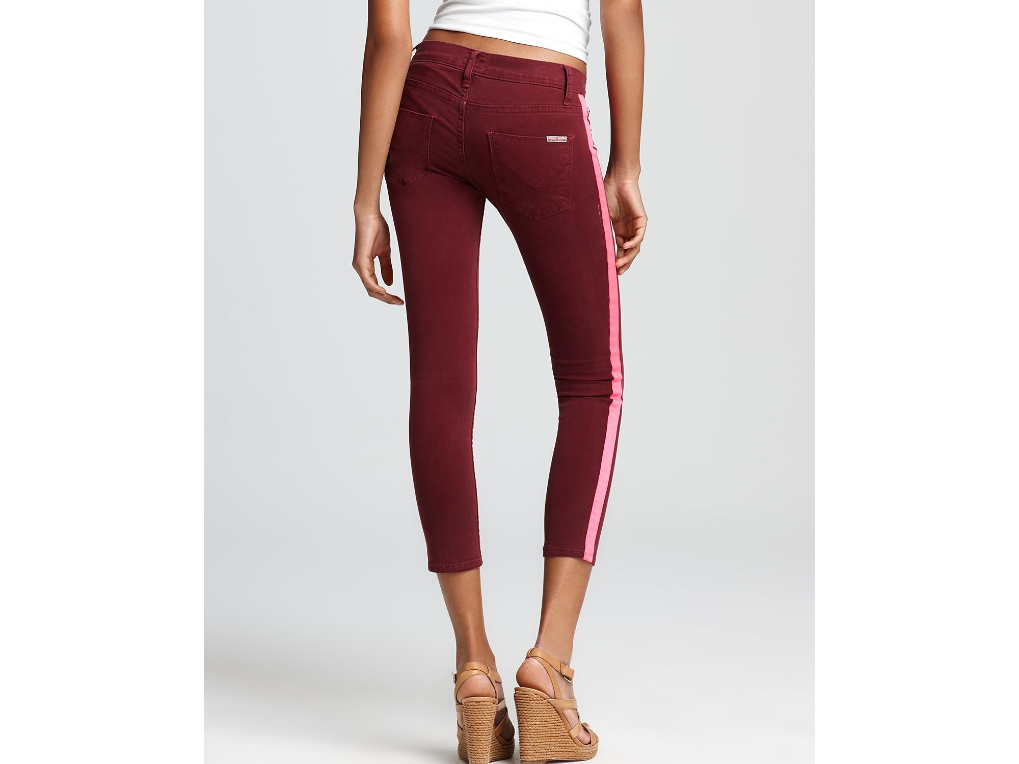 115adda74ae Hudson Jeans Tuxedo Stripe Crop Skinny Jeans in Manson in Purple - Lyst