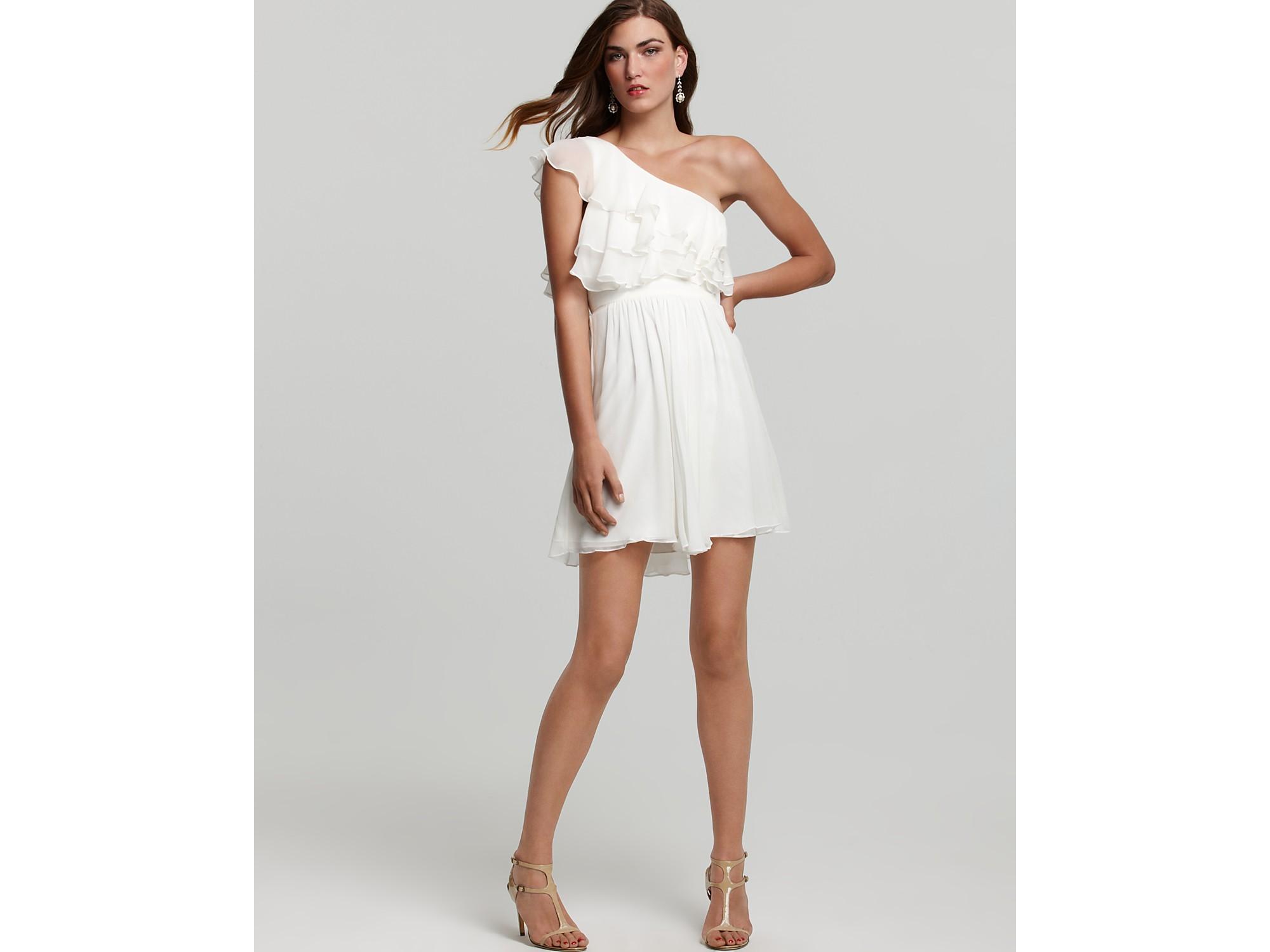 Jill Stuart Dress One Shoulder Dress Ruffle In White (off