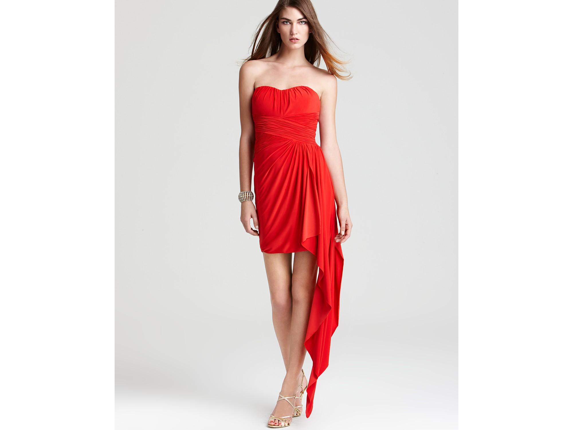 Max Amp Cleo Shawna Slinky Strapless Dress In Red Lollipop