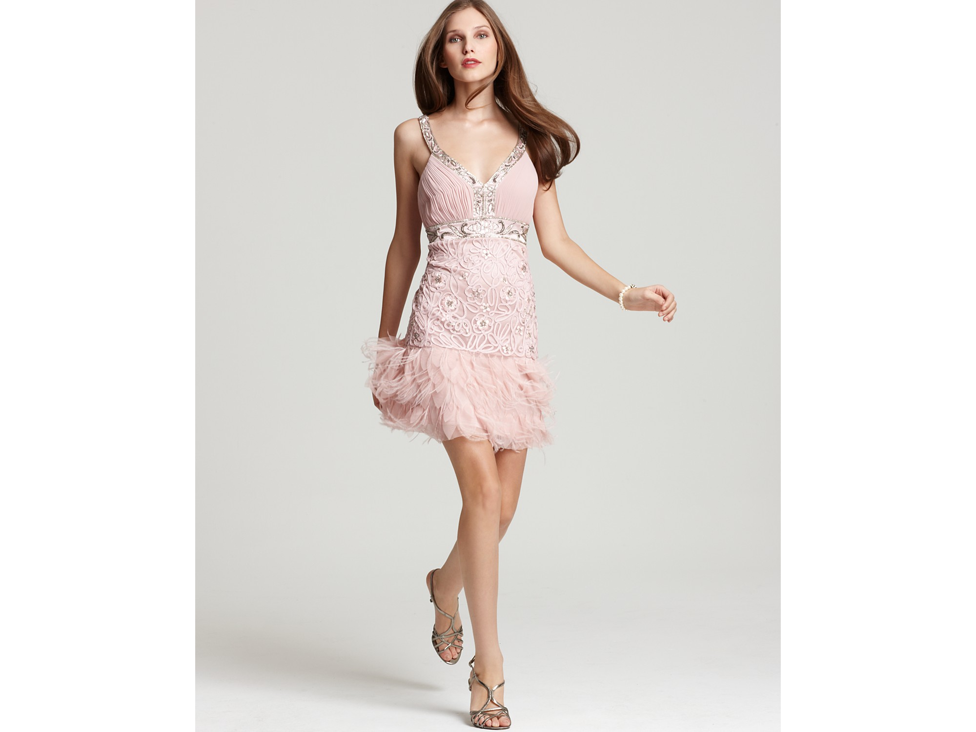 Sue wong Dress Feather Mini in Pink  Lyst