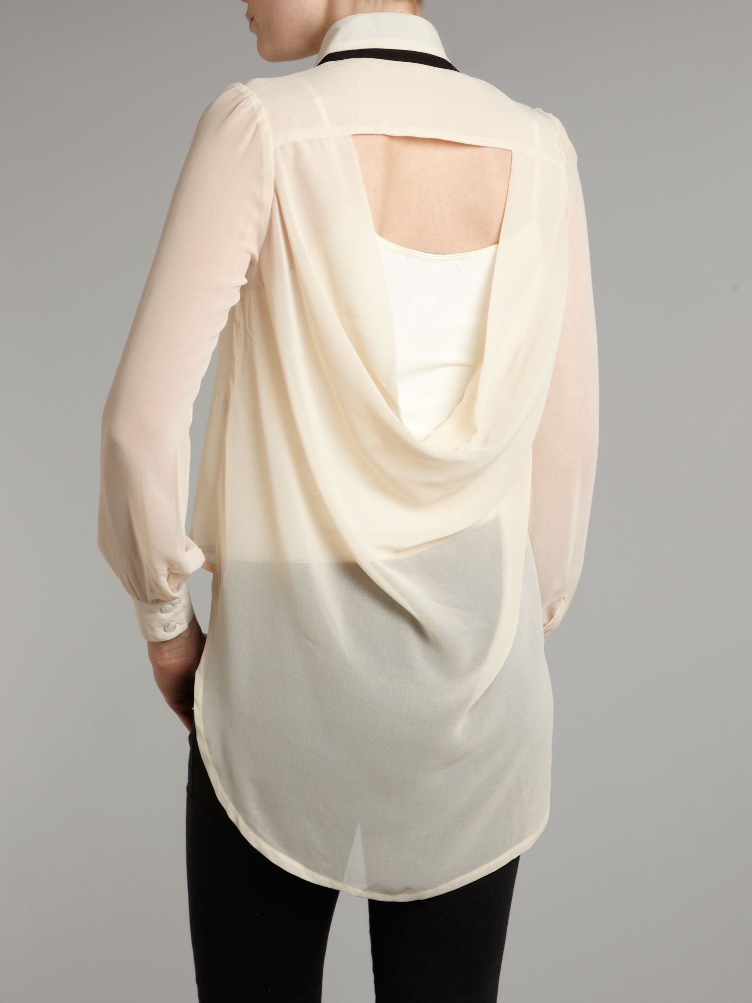 Tfnc London Long Sleeve Cut Out Back Blouse In Natural Lyst