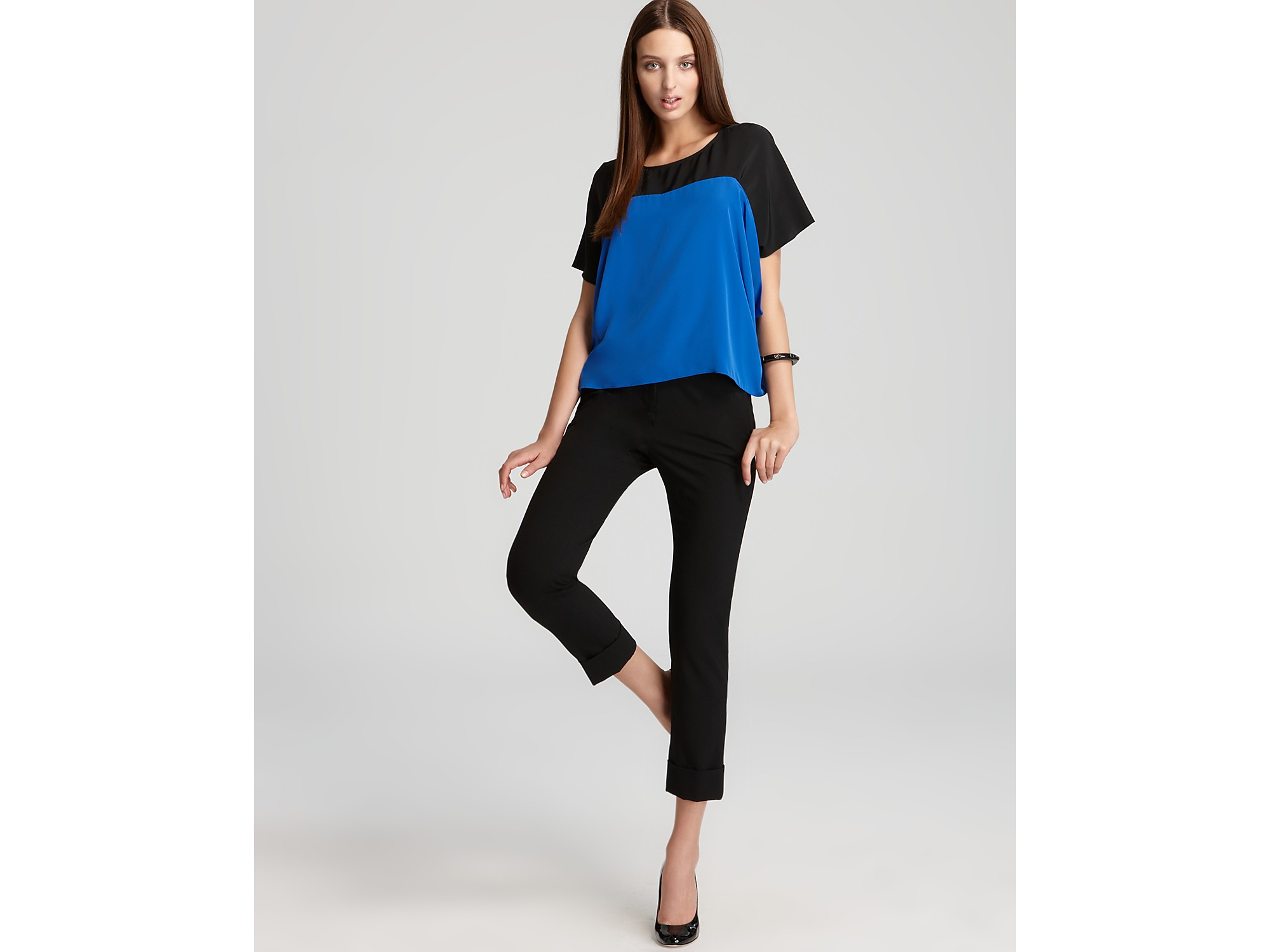 Vince Camuto Color Block Blouse In Electric Blue Blue Lyst