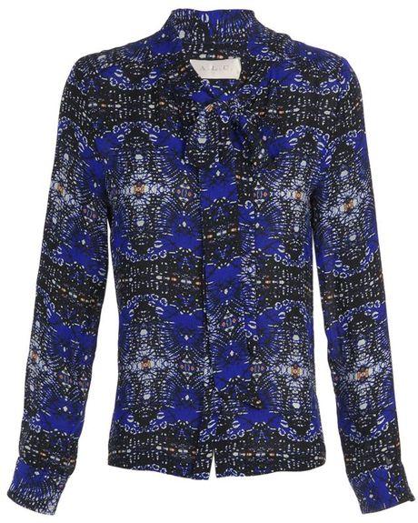 A.l.c. Izzie Printed Silk Blouse in Blue (blue multi)