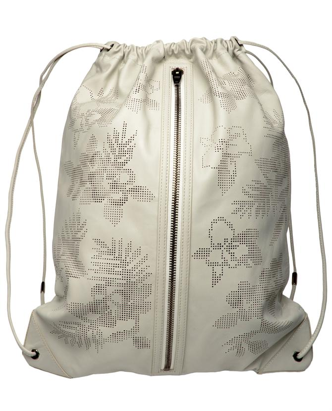 Alexander Wang Laser Cut Leather Gym Bag In Floral (white