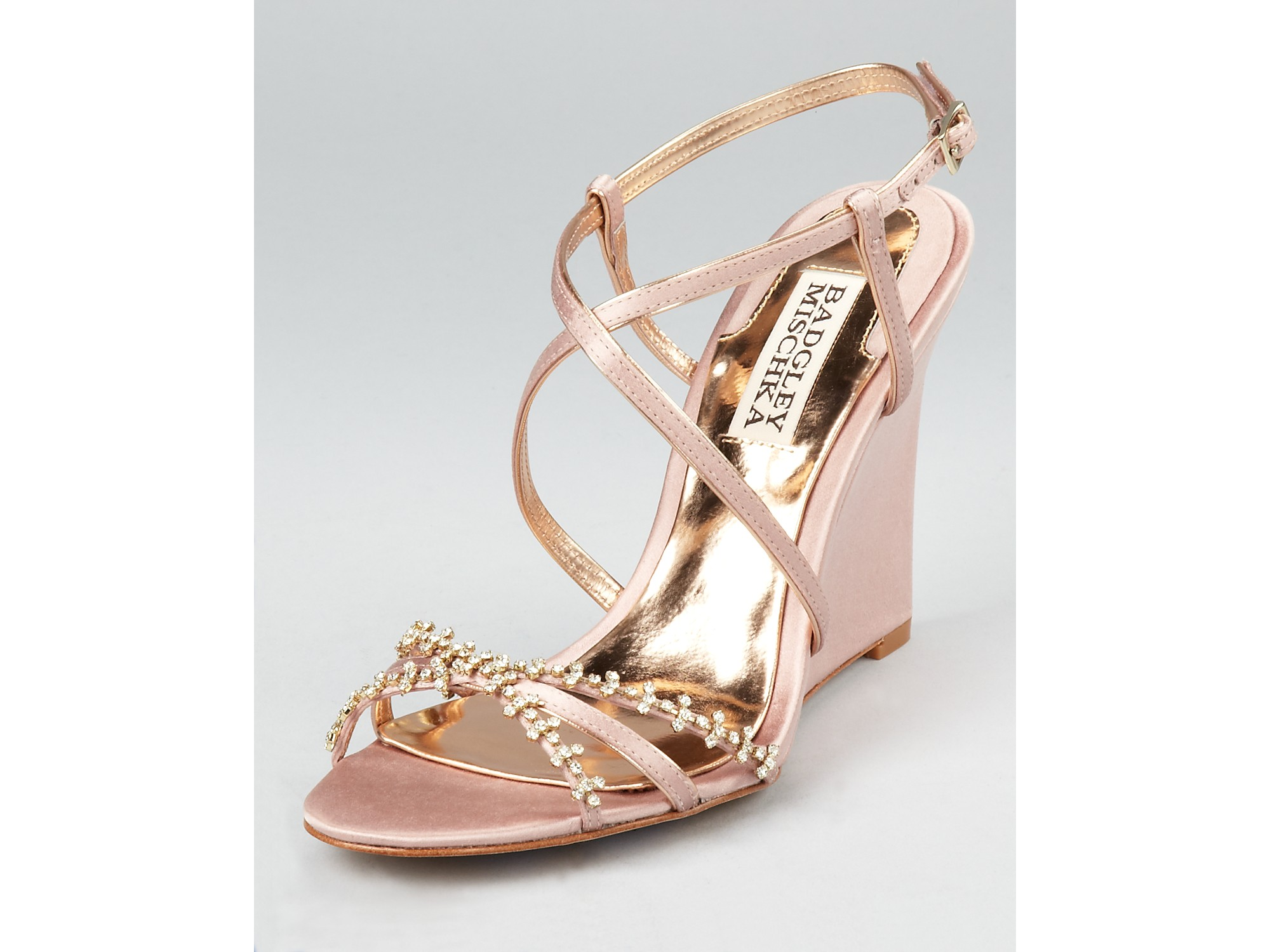Badgley mischka Evening Sandals Gisele Wedge in Metallic