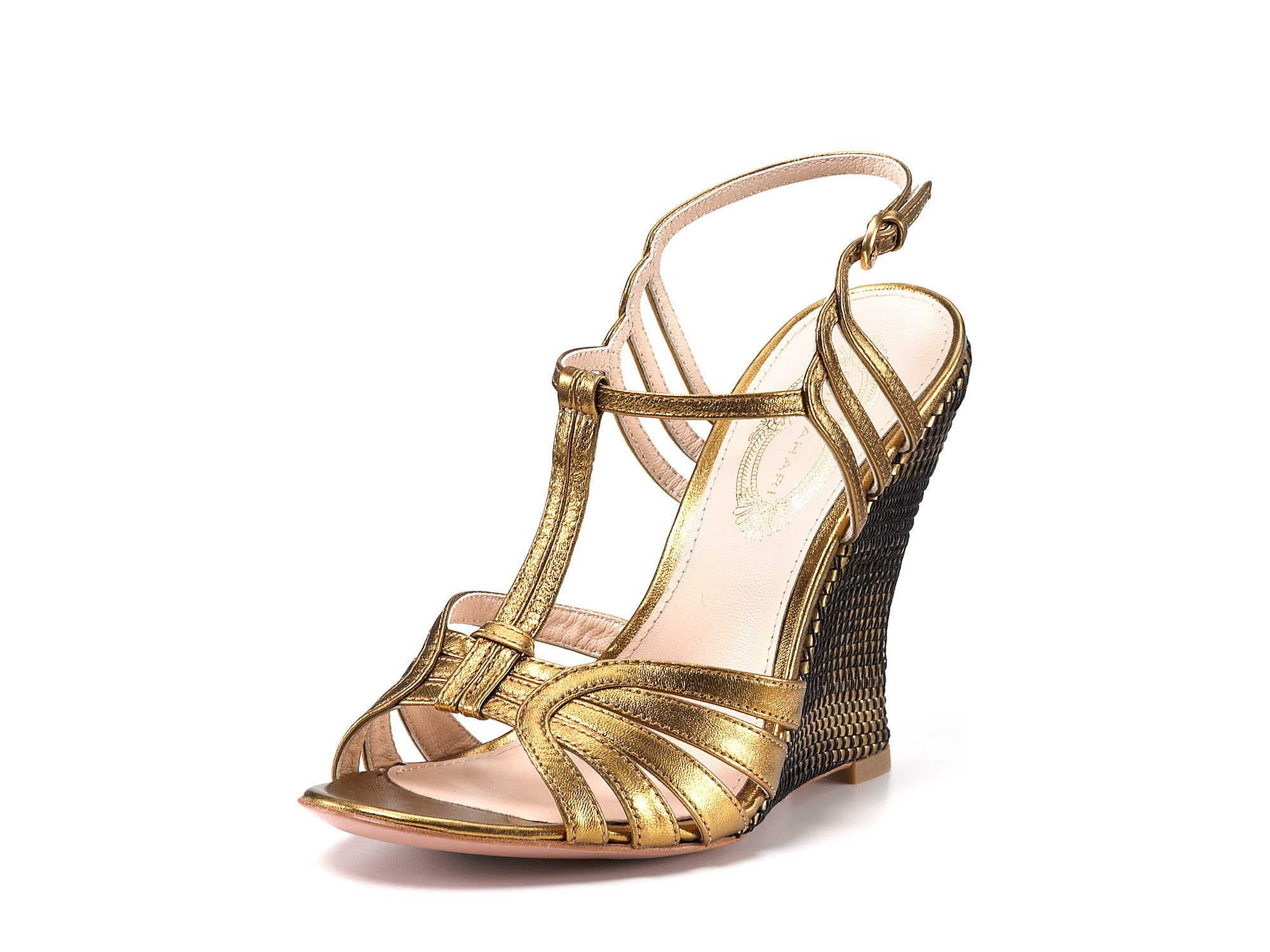 elie tahari sandals jonie wedge in gold bronze lyst
