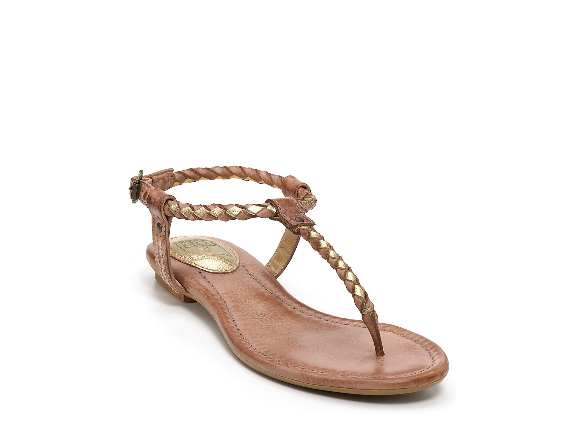 Frye Sandals Madison Braided Flat In Metallic Lyst