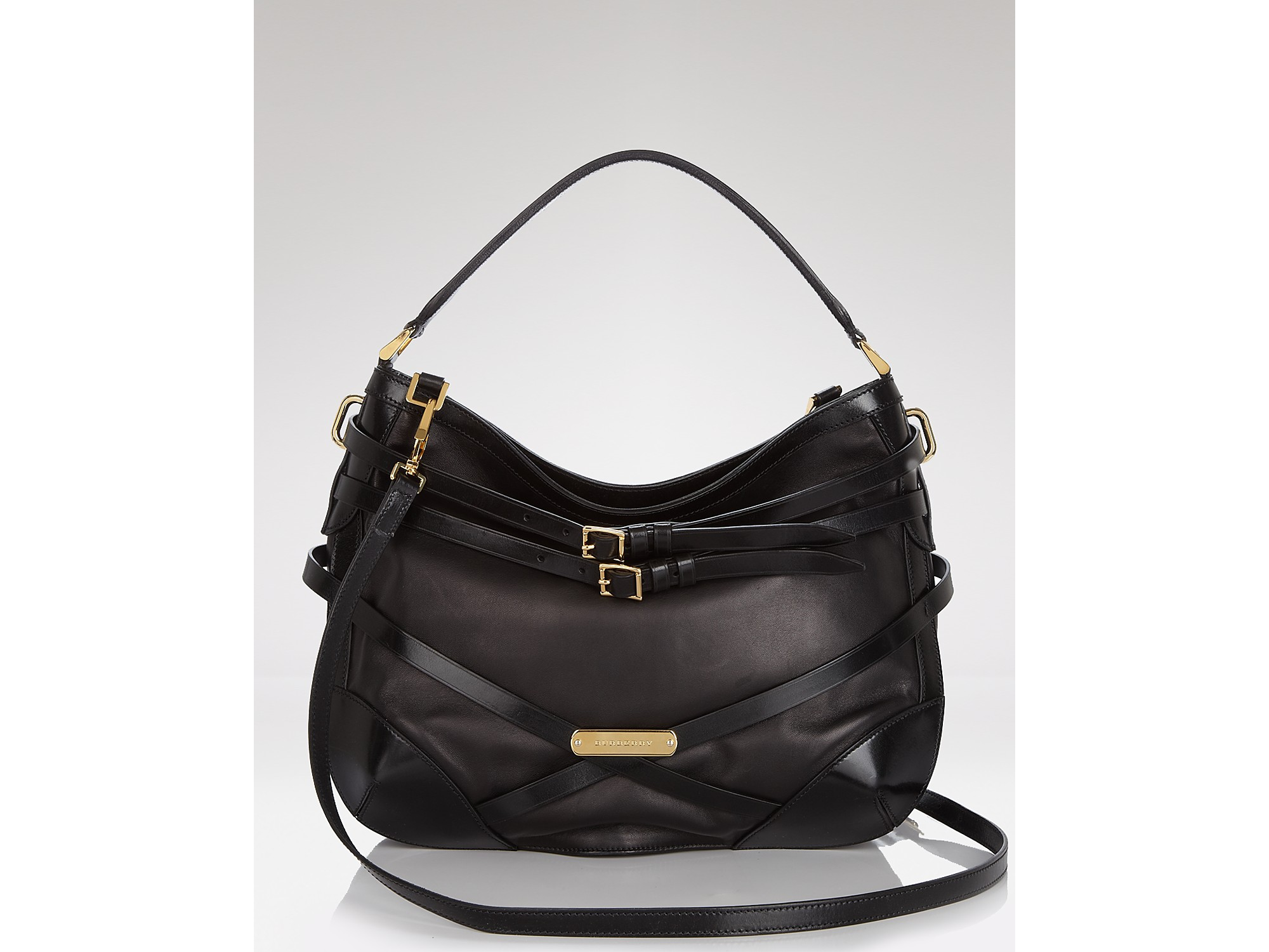 53f1c769fa09 Lyst - Hobo Burberry Bridle Leather Small Dutton in Black