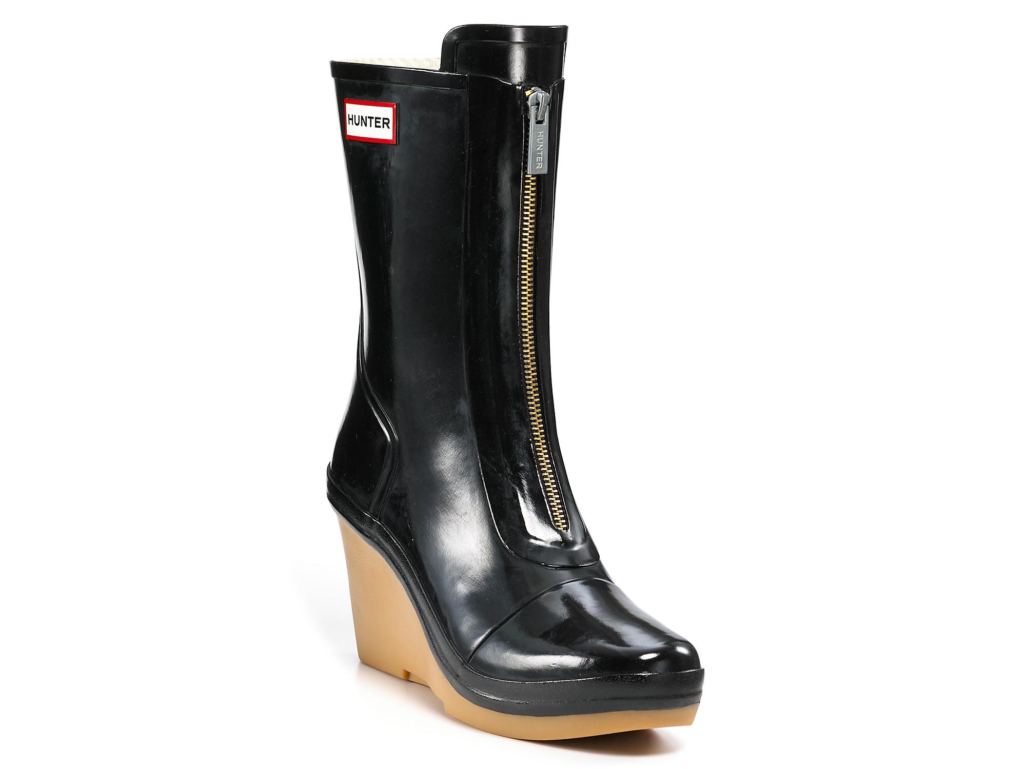Hunter Rain Boots Miles Gloss Wedge In Black - Lyst