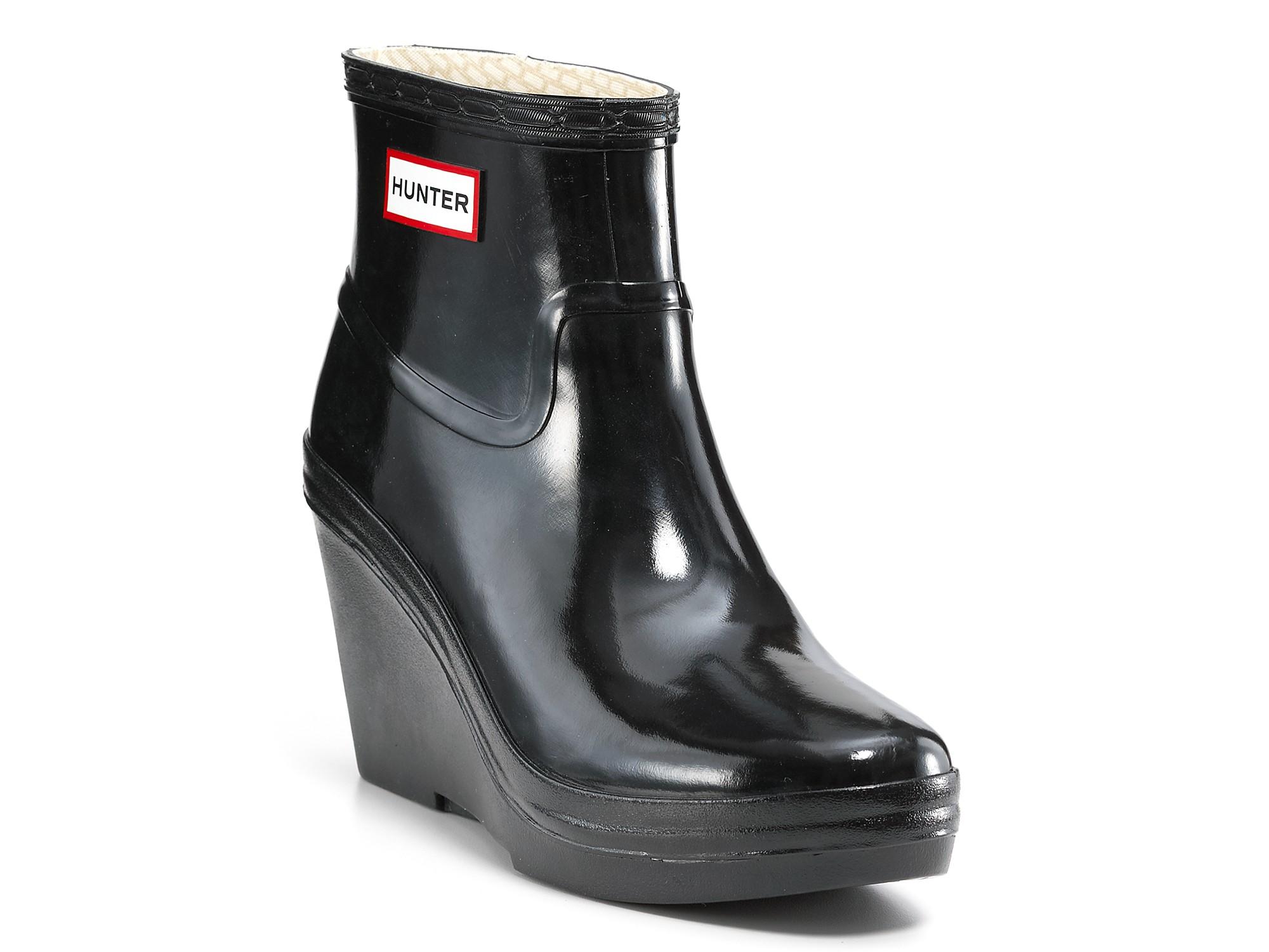 Hunter Rain Boots Aston Gloss Wedge In Graphite Black - Lyst