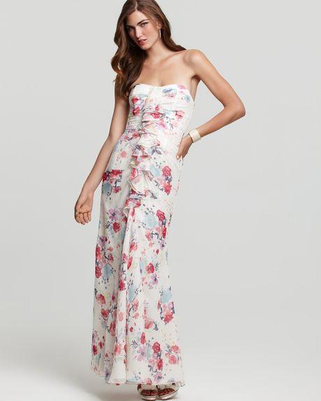 Jill Stuart Dress Gown Ruffle Floral Print Strapless Gown