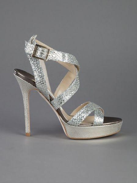 Jimmy Choo Vamp Sandal In Silver Lyst