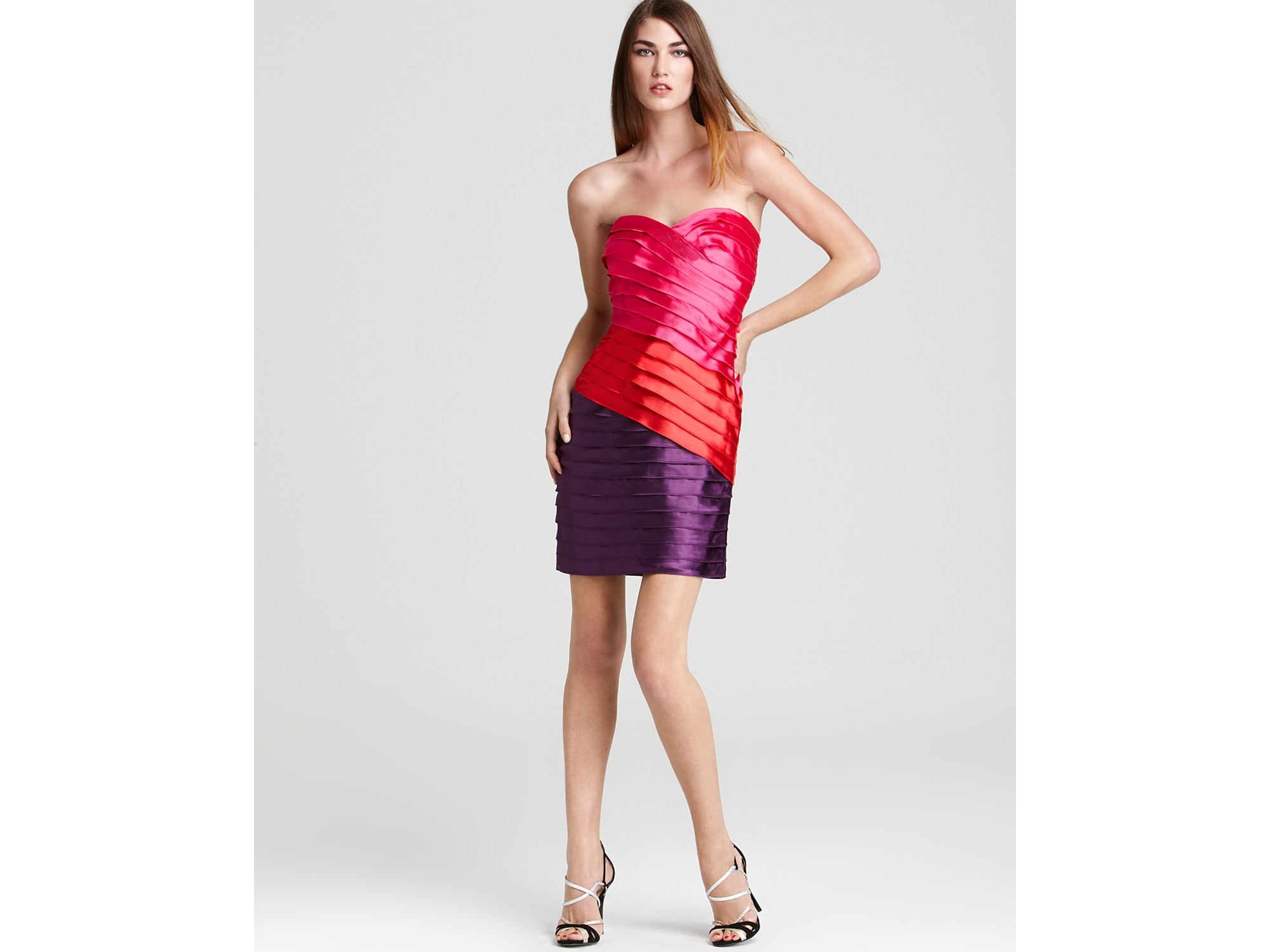 Max Amp Cleo Dress Ariel Color Block Strapless Dress In Pink